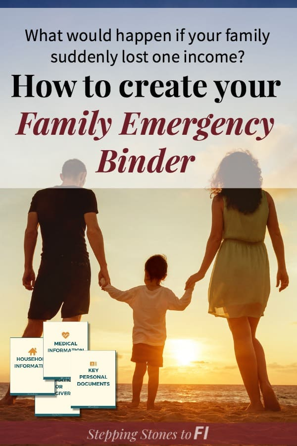 "Family walking on beach at sunset with text ""How to create your family emergency binder"""