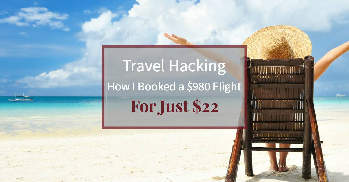 """happy woman with arms outstretched on beautiful beach with text """"Travel hacking: How I saved $960 on airfare"""""""