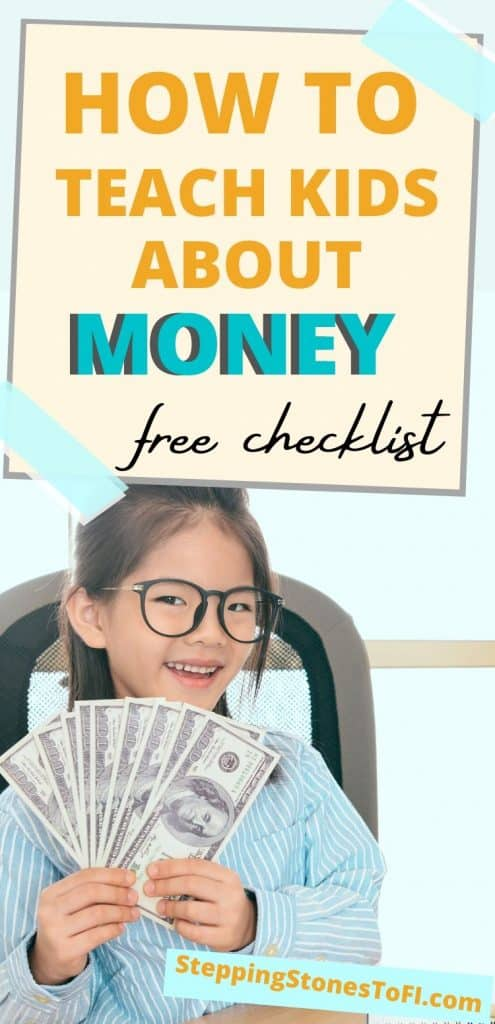 """Long Pinterest pin of a girl holding dollar bills and text """"How to teach your kids about money"""""""