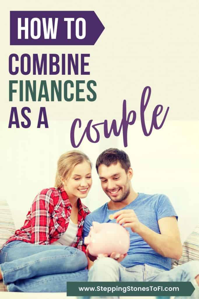 Long Pinterest pin of a couple putting savings into a piggy bank - how to manage money as a couple