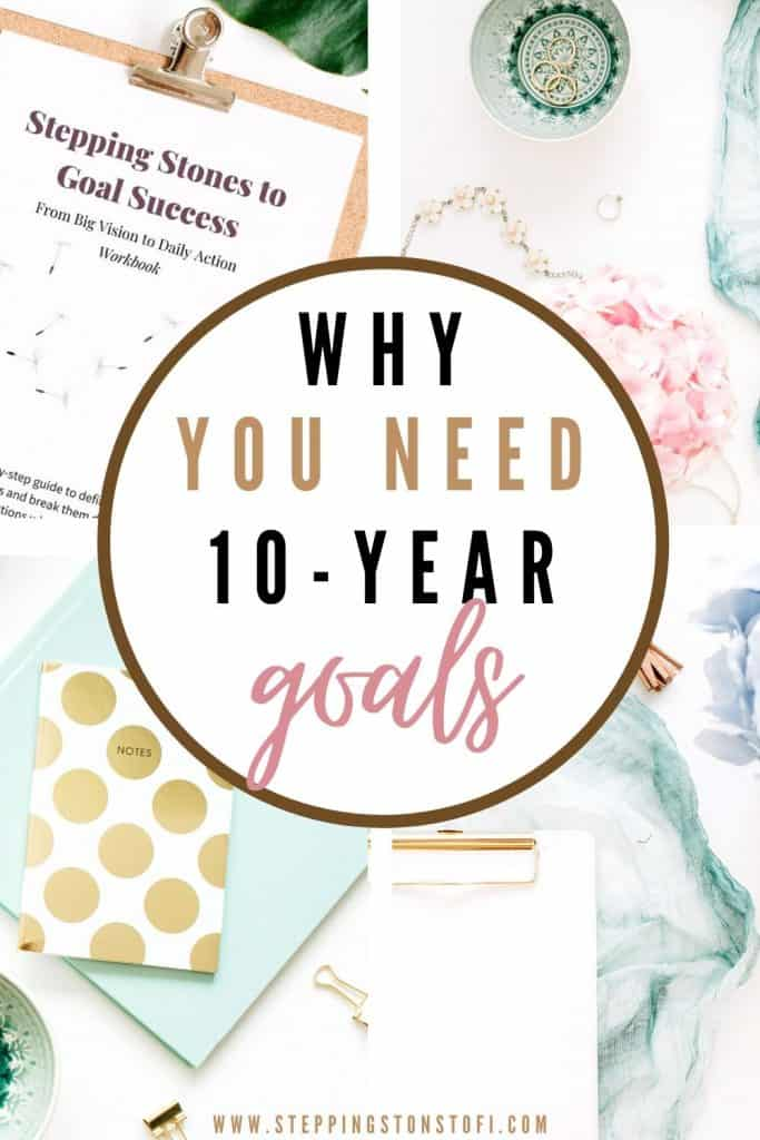 Long Pinterest pin why you need 10-year goals
