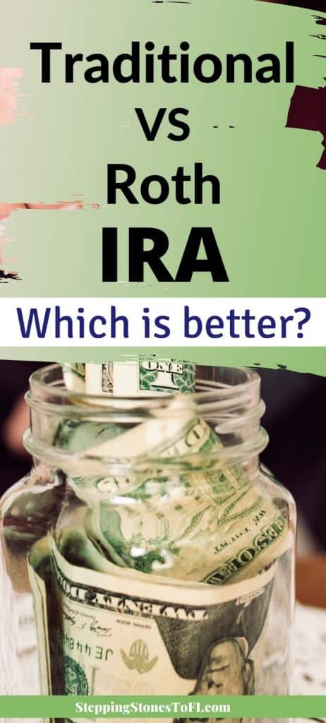 "Long Pinterest pin of money being stuffed into a jar and text ""Traditional vs. Roth IRA - Which is Better?"""