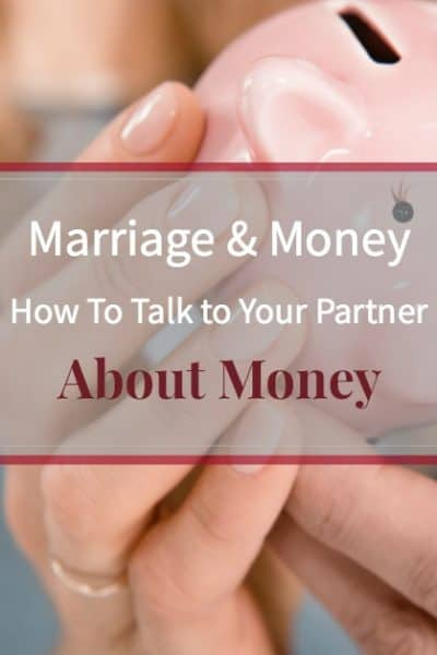 """Couple holding piggy bank together with caption """"Marriage and Money: How to talk to your spouse about money"""""""