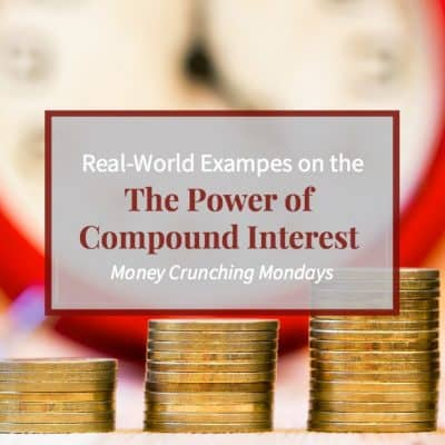 "Image of a clock in the background and increasing stacks of coins, text overlay ""Real-World Examples on the Power of Compounding Interest"""