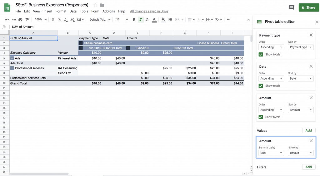 Create a new Pivot table from your responses generated from a Google Form for tracking expenses.