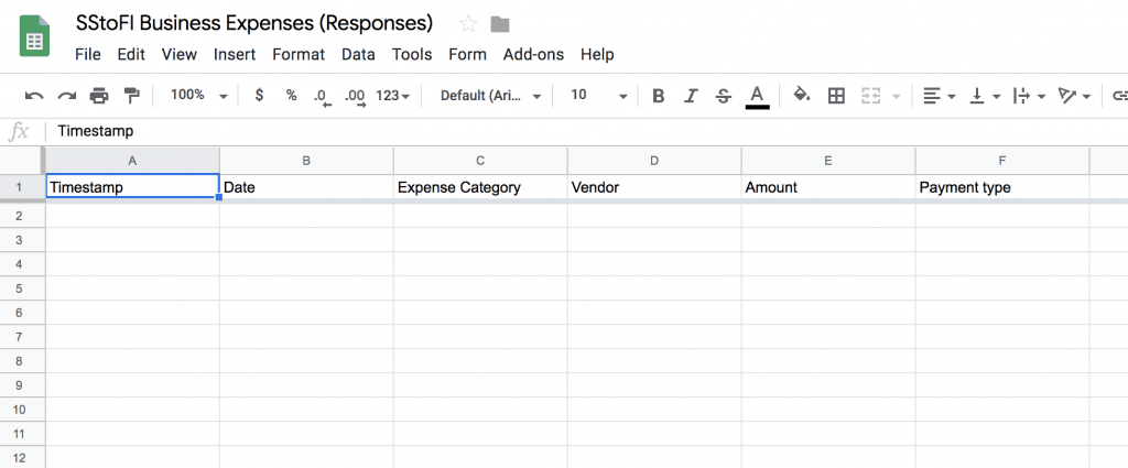 What a new spreadsheet created from Google Forms looks like.
