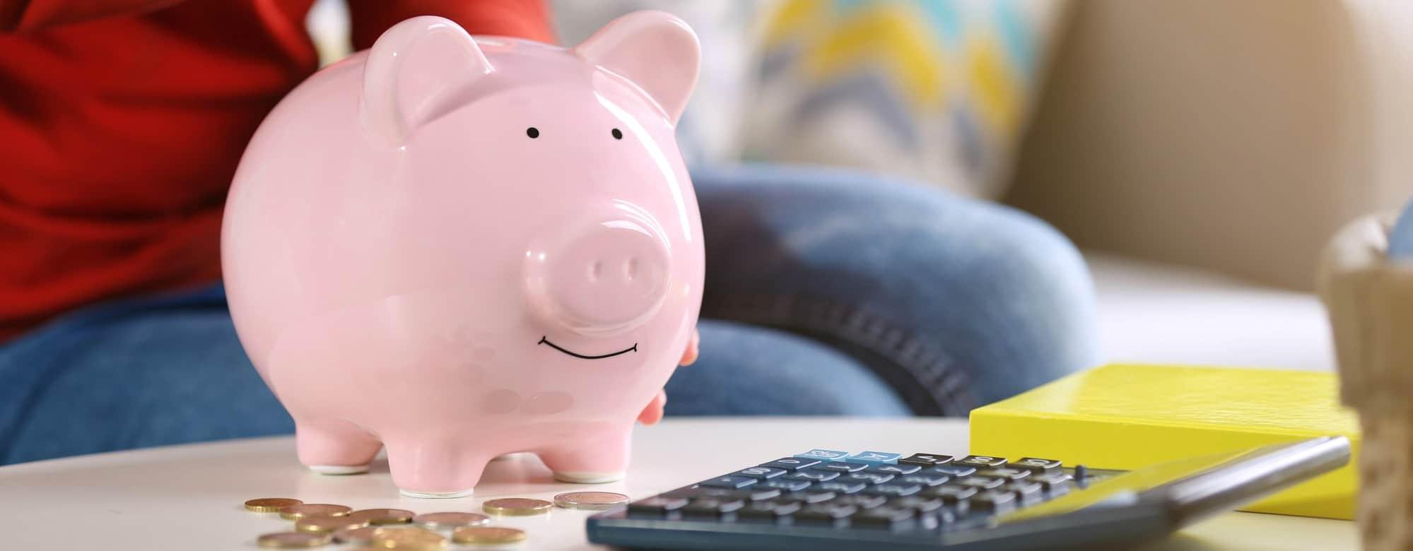 Female hand putting coins into piggy bank closeup