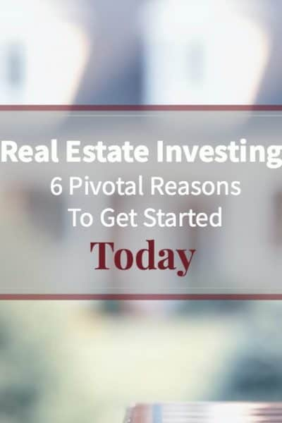 "piggy bank in front of beautiful home with text ""6 reasons to invest in real estate"""