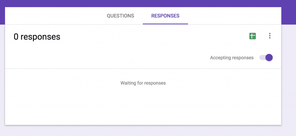 "How to toggle over to the ""Responses"" tab instead of the ""Questions"" tab when editing your Google Expense Tracking Form."