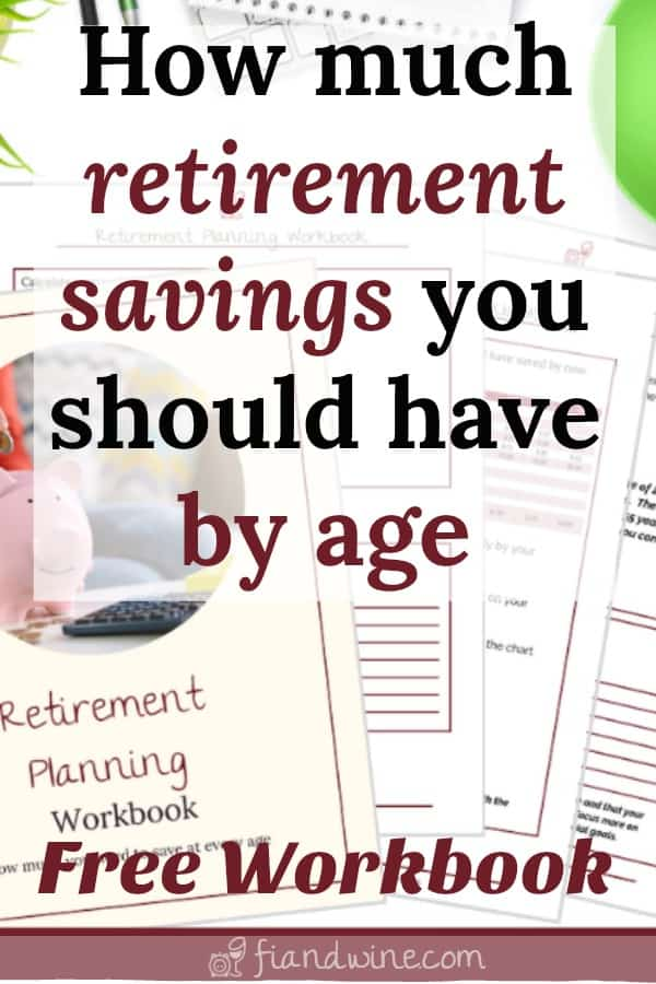 "Image of retirement savings workbook pages with caption ""How much retirement savings you should have by age"""
