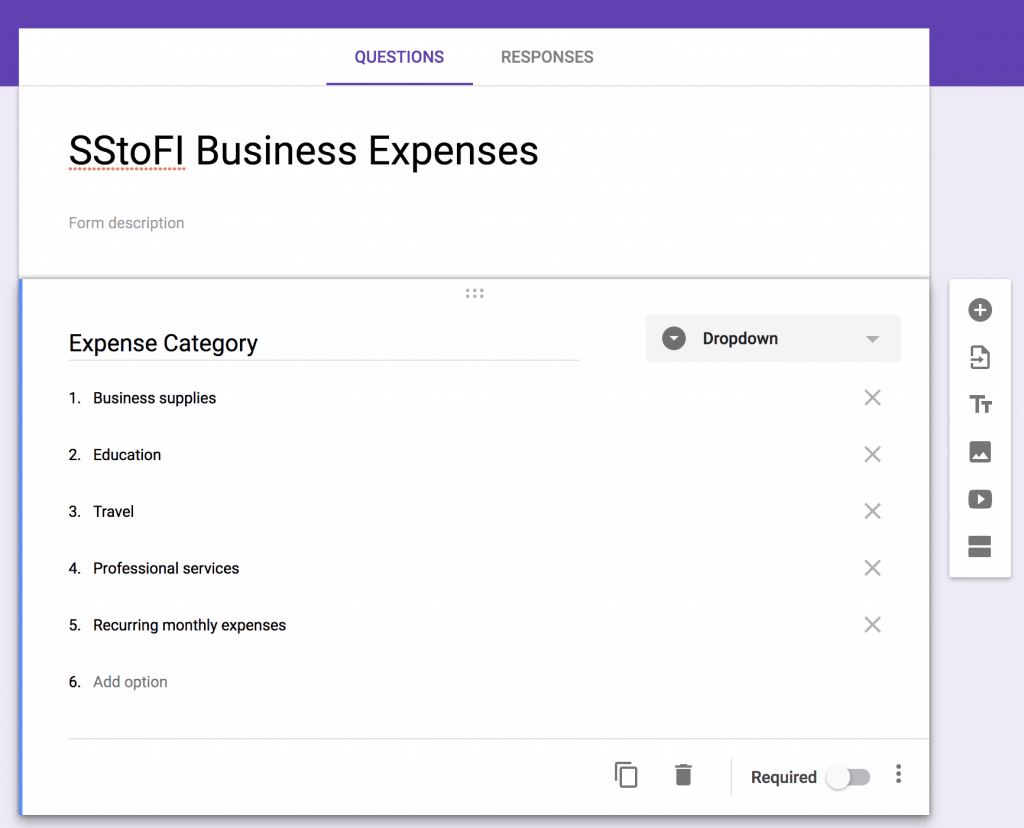 Screenshot of how to create Expense Categories within Google Forms as a dropdown menu for tracking daily expenses.