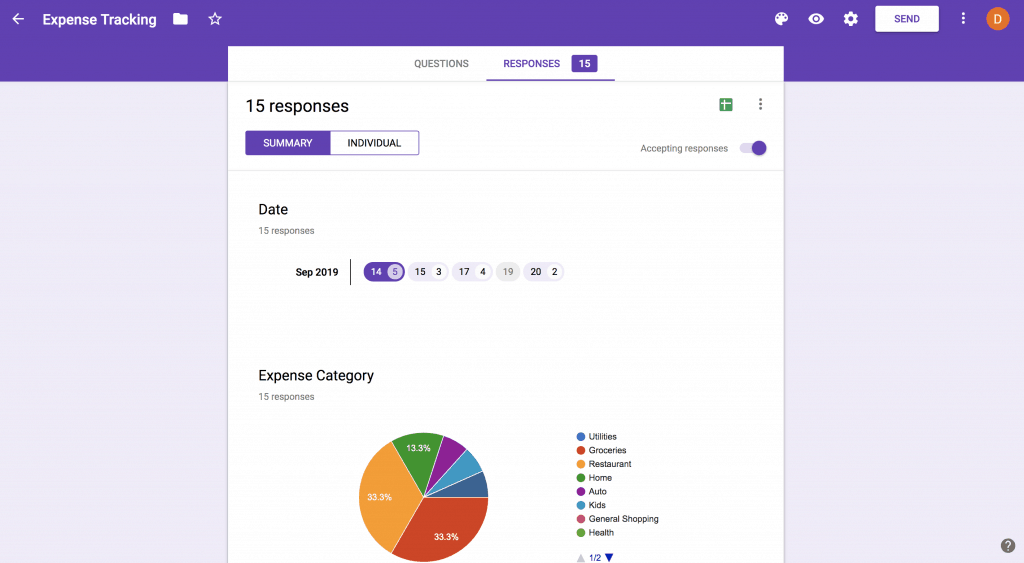 Screenshot of using Google Form as a mobile app to track expense transactions, then easily view a breakdown of spending across expense categories for the month so you can stay within budget.