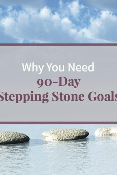 "Stepping stones in the ocean with beautiful blue sky and text ""Why you need 90-Day Stepping Stone Goals"""