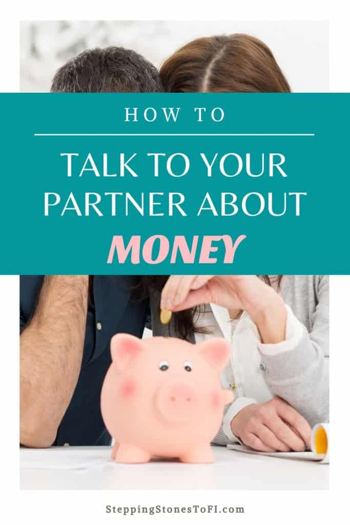 """Pinterest pin image of a couple placing money in a piggy bank and text """"How to talk to your partner about money"""""""