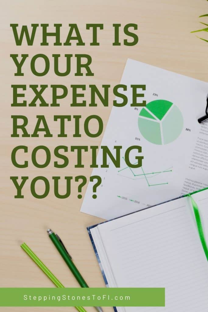 """Long Pinterest pin of financial graphs on desktop with text """"What is your expense ratio costing you?"""""""