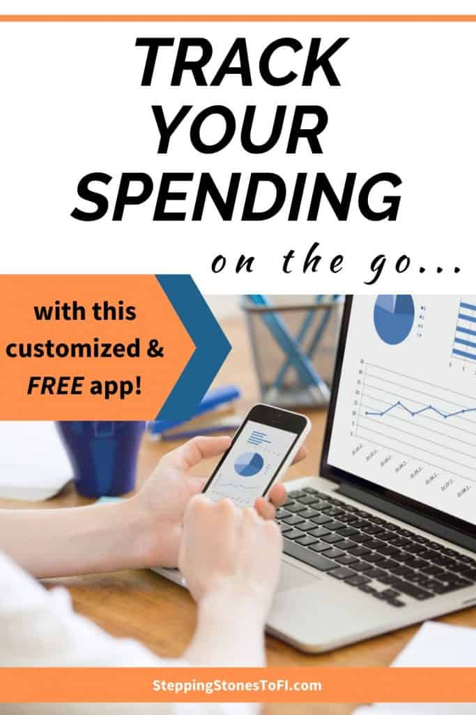 "Long Pinterest pin image of a woman using budgeting app on phone and laptop and text ""Track your spending on the go"""