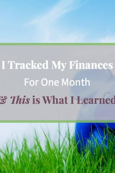 """Blue piggy bank on grassy hill with text """"The importance of tracking your finances"""""""