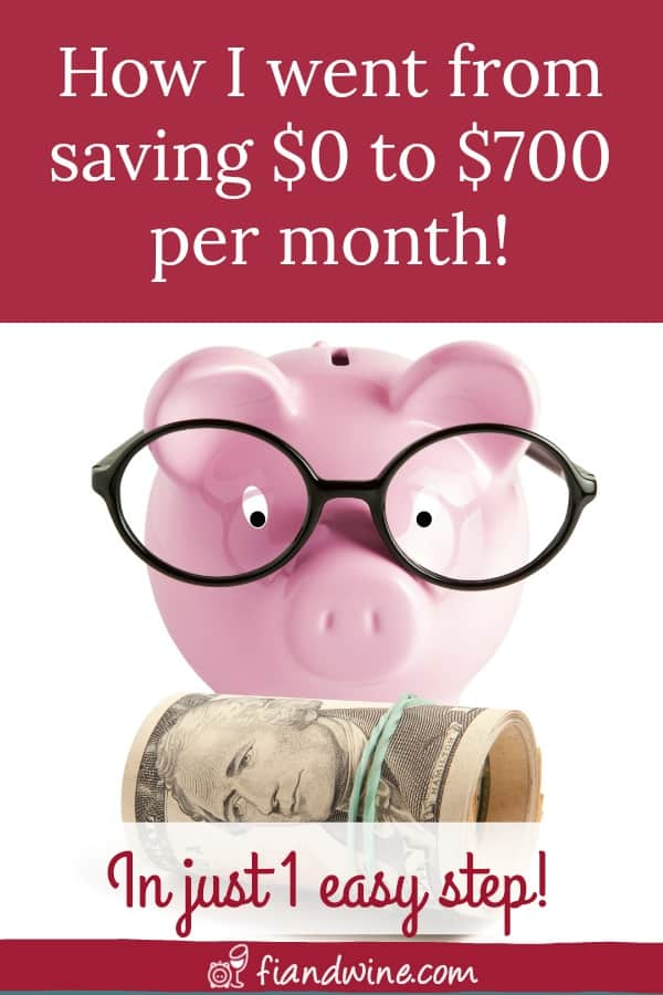 """Piggy bank looking very studius with glasses and text overlay """"How I went from saving $0 to $700 every month!"""""""