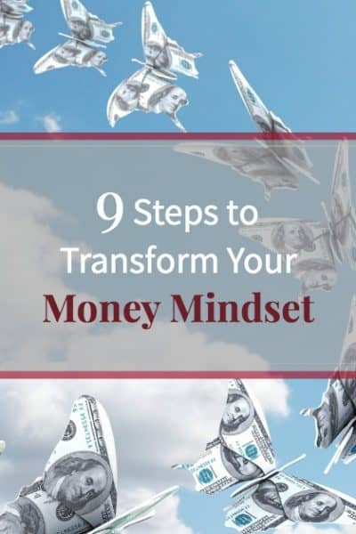 """Beautiful blue sky with butterflies made of money and text """"9 Steps to Transform Your Money Mindset"""""""