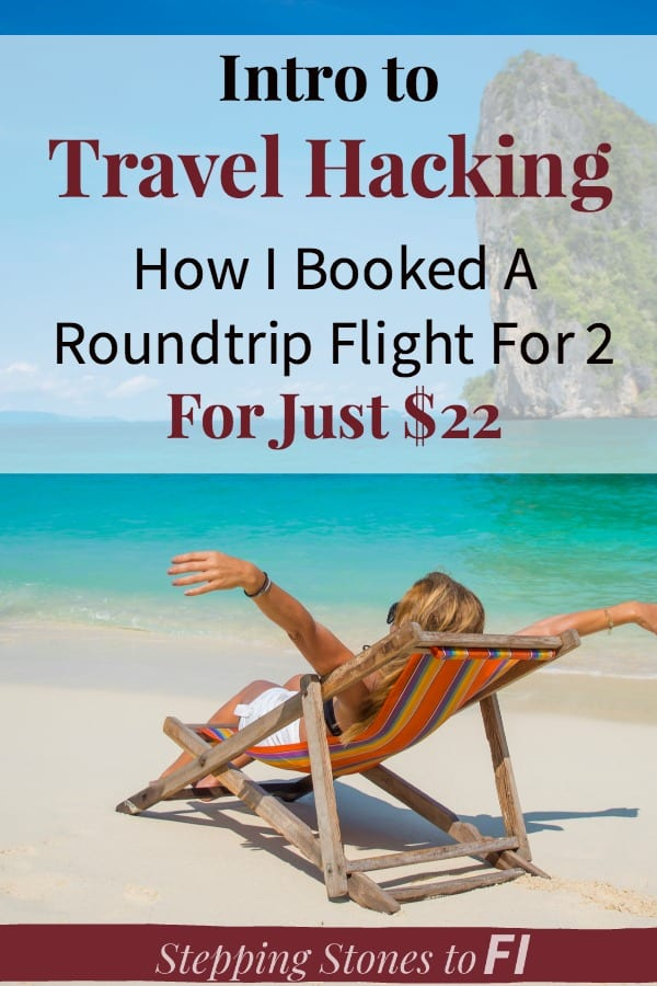 """Woman lounging on a beach with Caribbean blue water and caption """"Intro to travel hacking"""""""