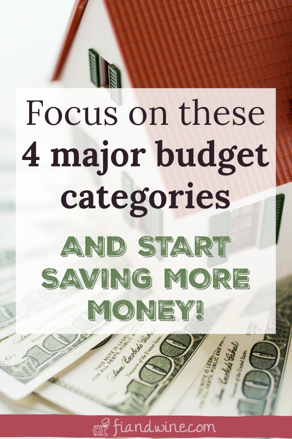 Learn some creative ways you can cut back on the 4 biggest expenses in your household budget to finally save more money and reach your financial goals. Budgeting | Save money | Cut Expenses | Financial Planning | Financial Independence #savemoney