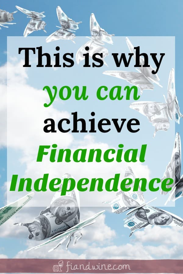 "Butterflies made out of money flying through a blue sky with white fluffy clouds, text overlay ""this is why you can achieve financial independence"""