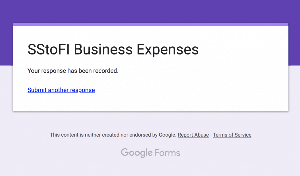 Screencap of the popup displayed after you have filled out your expense within your mobile Google Form.