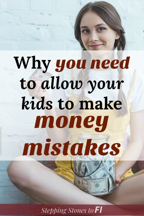 """Teenage girl with jar of money and text """"why you need to allow your kids to make money mistakes"""""""
