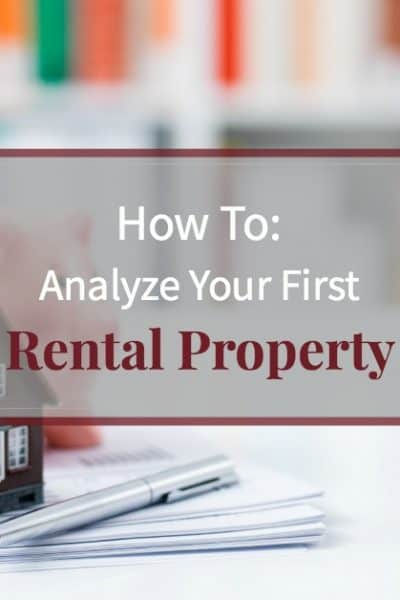 """Piggy bank and model house on desk with paperwork and text """"How to analyze your first rental property"""""""