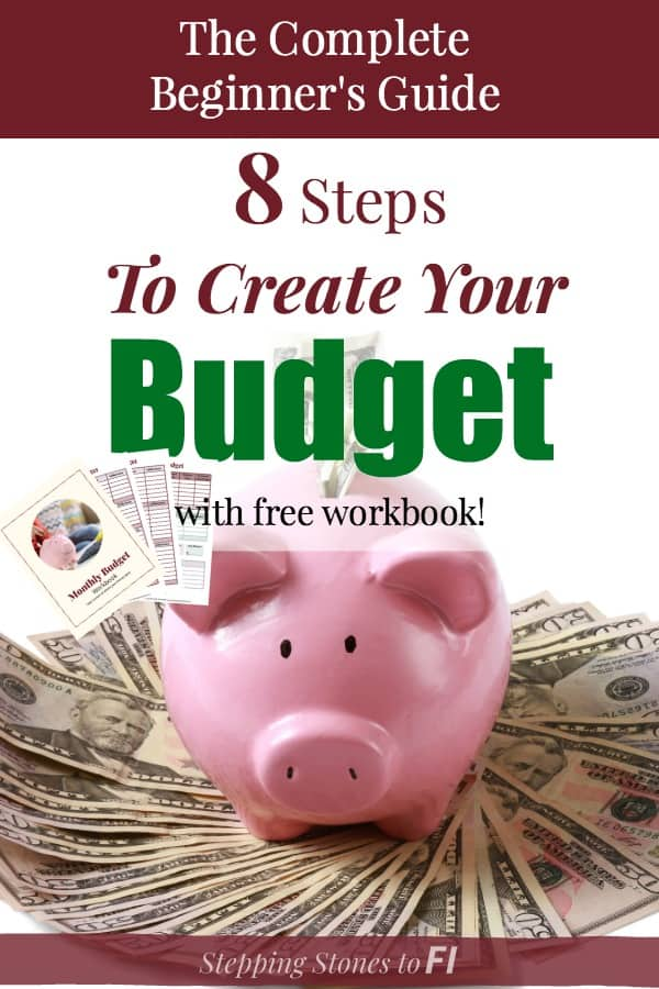 """Piggy bank with $100 bills and text """"Ultimate beginner's guide: 8 steps to create your budget"""" Free pdf budget workbook."""