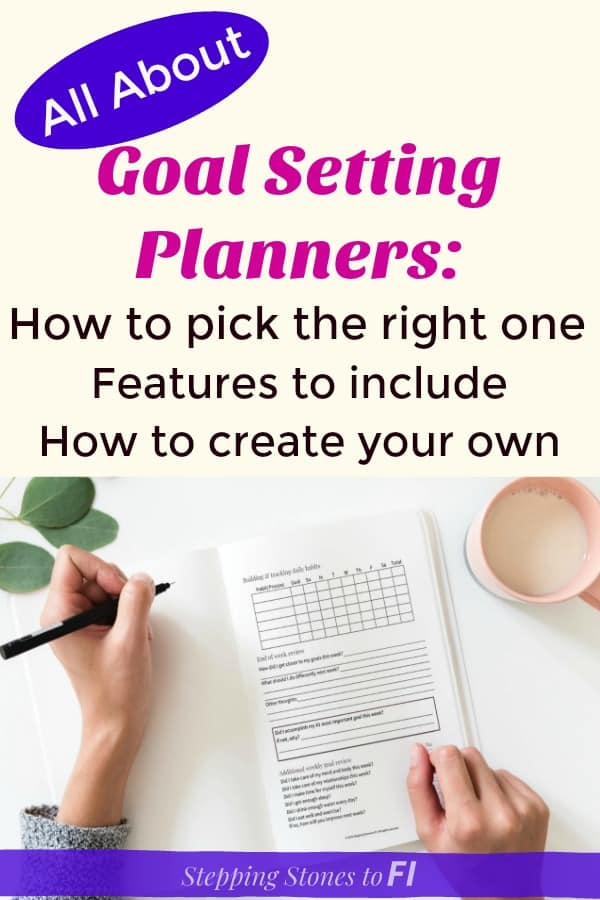 """Long Pinterest image with woman writing in a goal setting planner and text """"All about goal setting planners: How to pick the right one, features to include, how to create your own."""