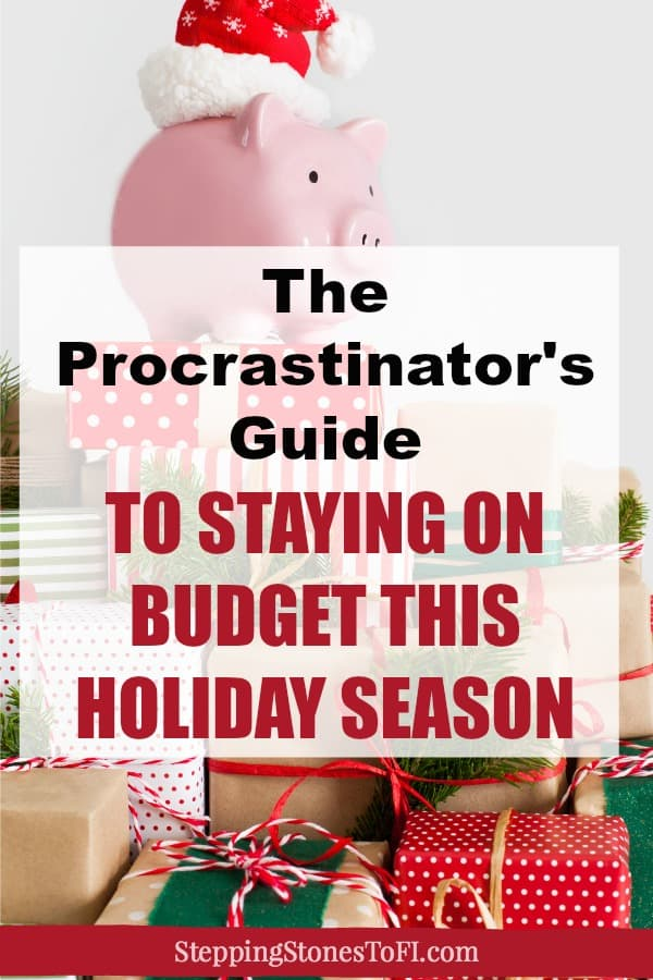 "Piggy bank with Santa hat sitting on top of a large pile of Christmas presents and text overlay ""How to stay on budget this holiday season"""