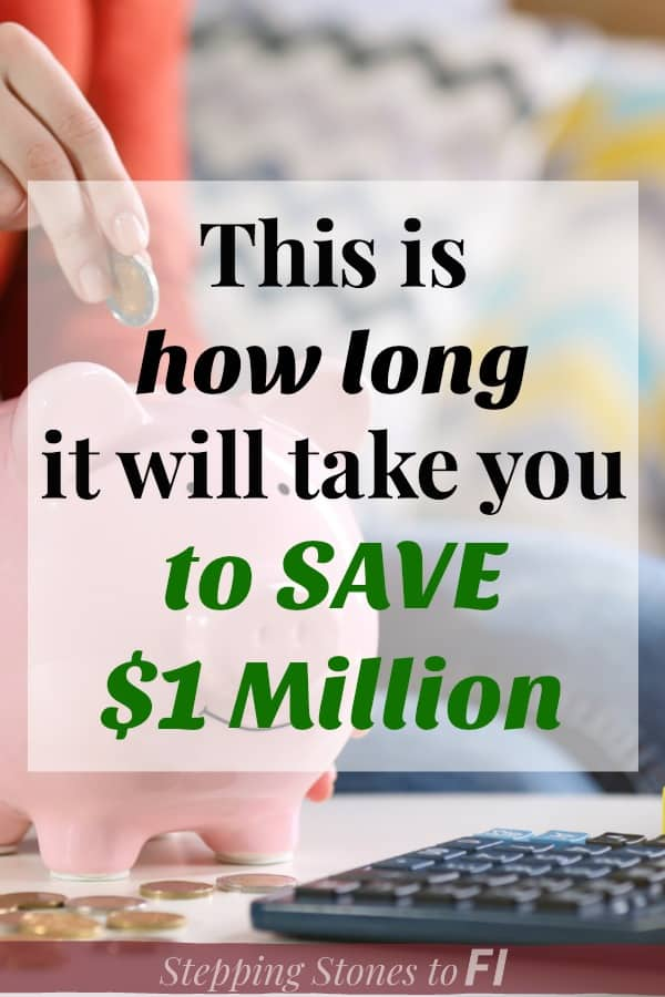 """Woman adding money to pink piggy bank with text overlay """"This is how long it will take you to save $1 million"""""""