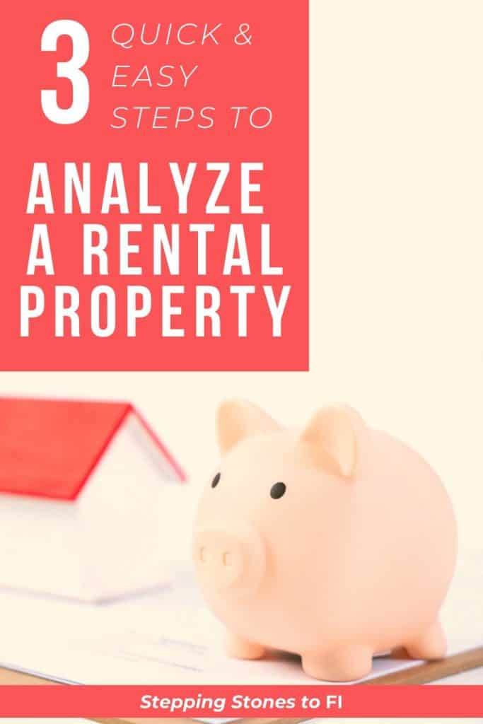 """Long Pinterest pin with piggy bank and model house on desk with text """"3 steps to analyze a rental property"""""""