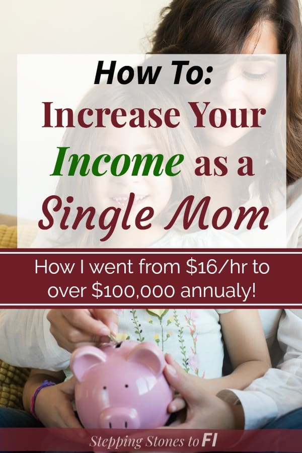 """Mom and young daughter sitting on couch placing a coin into a piggy bank with text """"How to increase your income as a single mom"""""""