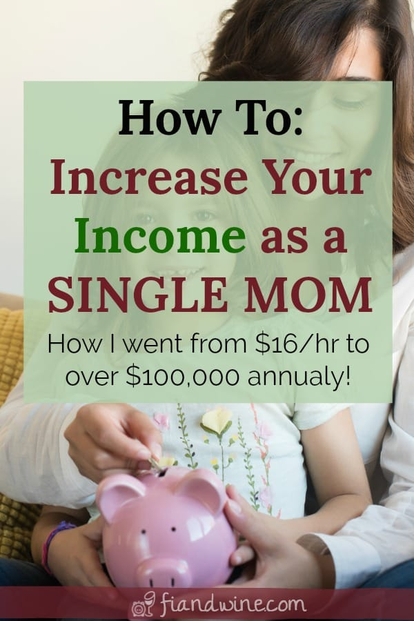 Mom and daughter with piggy bank, learn how to earn and save more money as a single mom. Tips and ideas to increase your income, find a new career or start a side hustle to make extra money.