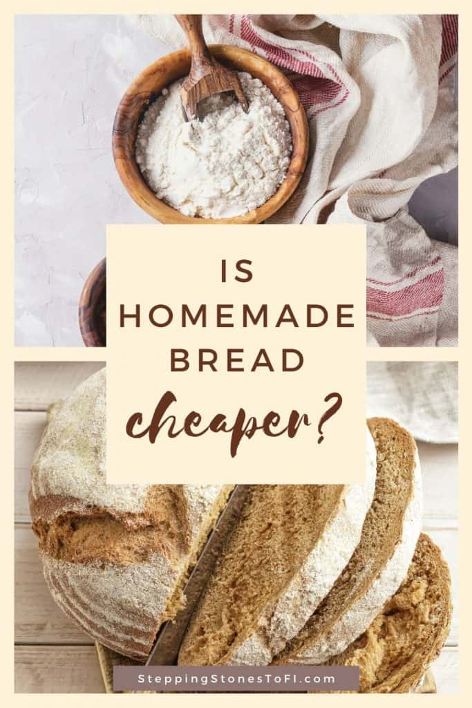 Long Pinterest image of baking homemade bread - Is it chepaer?