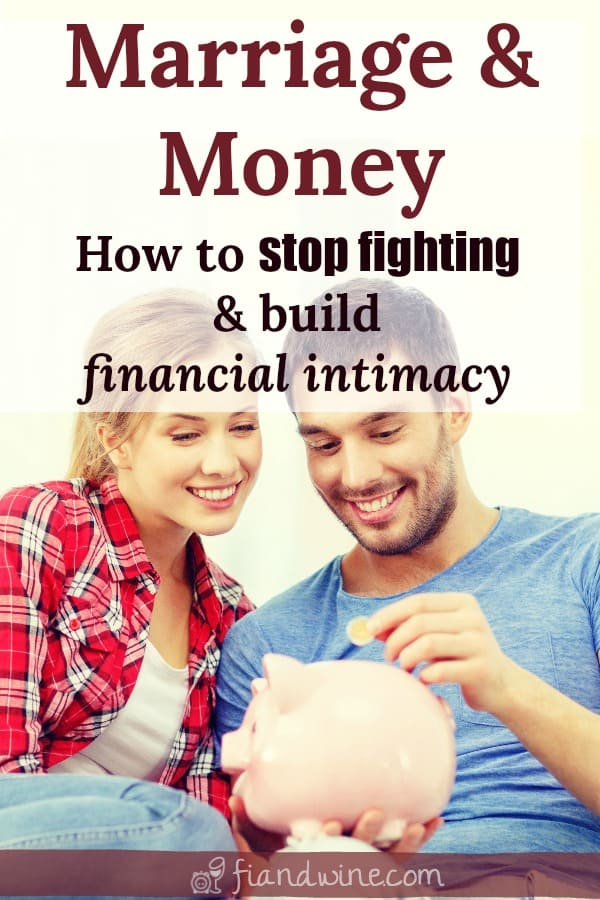 "Happy couple sitting together with piggy bank and caption ""Marriage and money: How to stop fighting and build financial intimacy"""