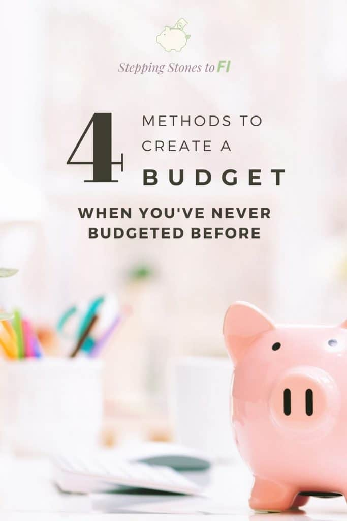 "Long Pinterest image of a piggy bank on a desk with text ""4 methods to create a budget when you've never budgeted before."""