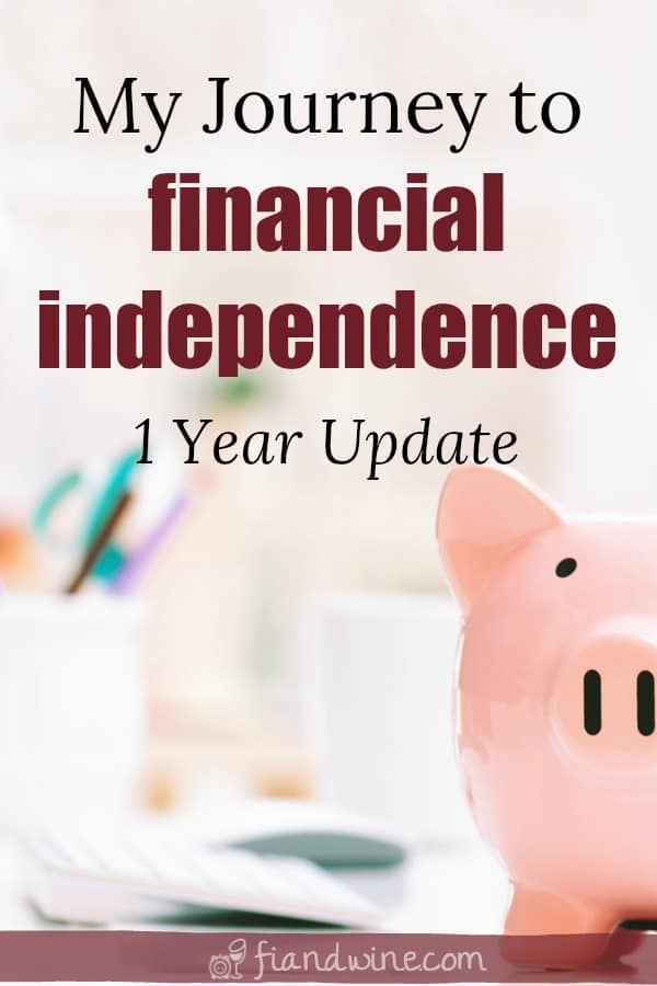 "Piggy bank on work desk with text overlay ""My journey to financial independence, one year update"""