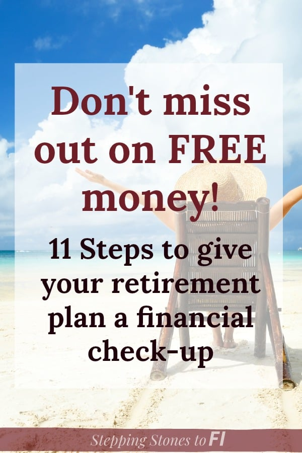 "back view of woman sitting on beach chair on beach with arms outstretched and text ""11 steps to give your retirement plan a financial check-up"""