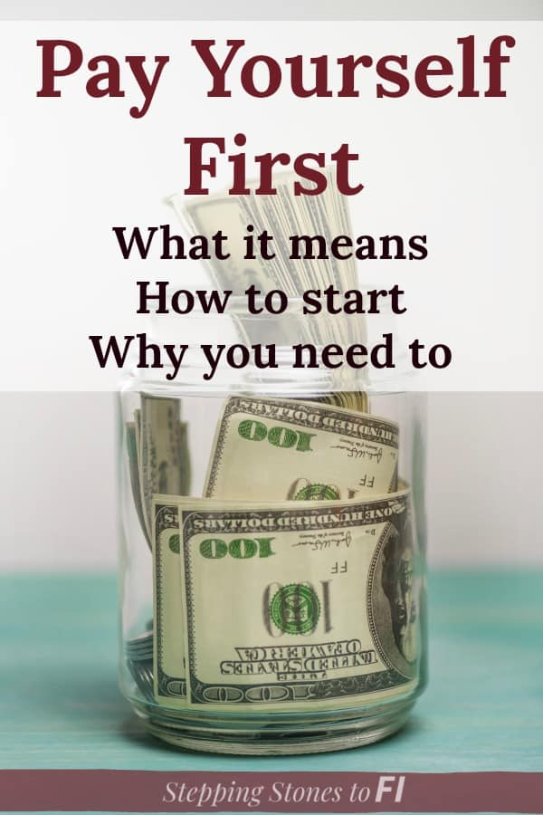 "Savings jar full of one hundred dollar bills with text caption ""Pay Yourself First: What it means, how to start and why you need to do it"""