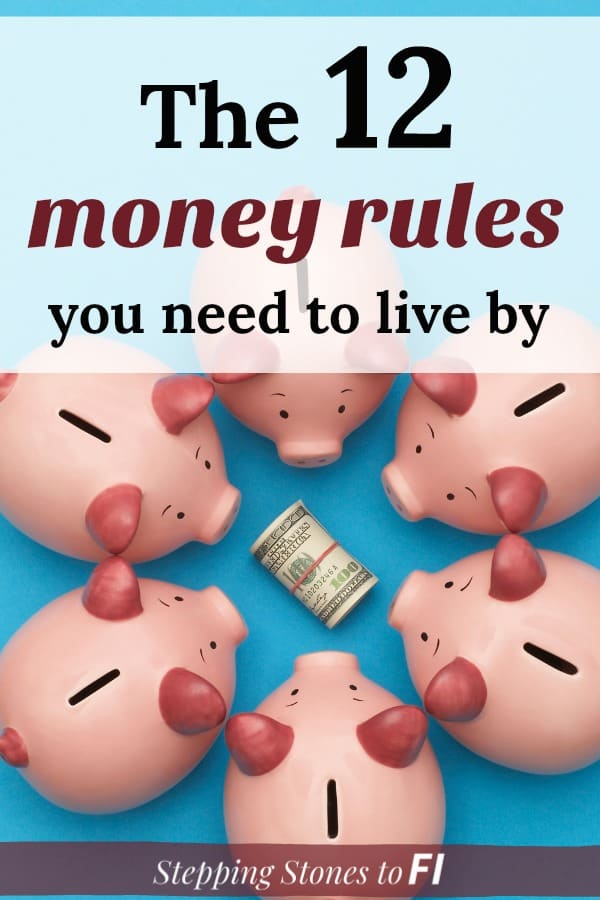 "6 pink piggy banks circled around a roll of money with text ""the 12 money rules you need to live by"""
