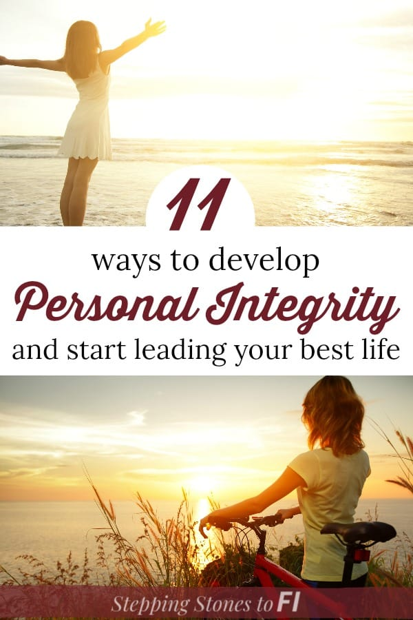 """Woman overlooking sunset beach with text """"11 ways to develop personal integrity and start leading your best life"""""""
