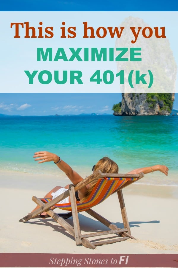 "happy woman relaxing on Caribbean beach with text overlay ""11 quick steps to review and optimize your retirement plan"""