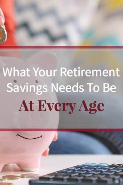 "Woman dropping change into a smiling piggy bank with text overlay ""what your retirement savings needs to be at every age"""