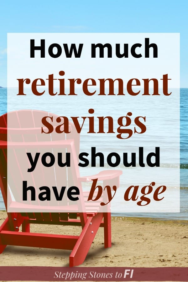 "Red lounge chair on the beach with text ""How much retirement savings you should have by age"""