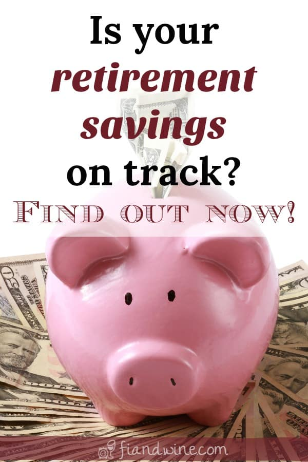 """piggy bank overflowing with cash and caption """"is your retirement savings on track?"""""""
