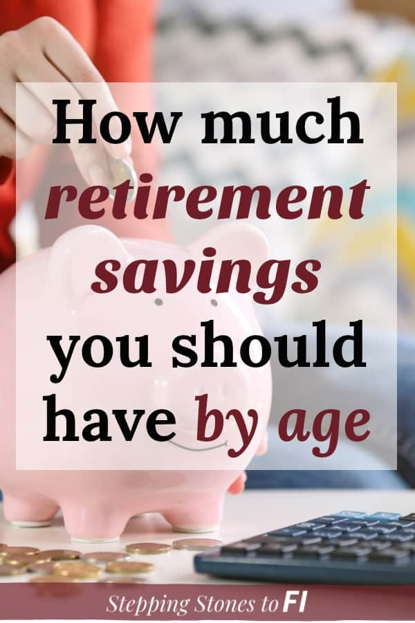 "Woman dropping change into a smiling piggy bank with text overlay ""How much retirement savings you should have by age"""