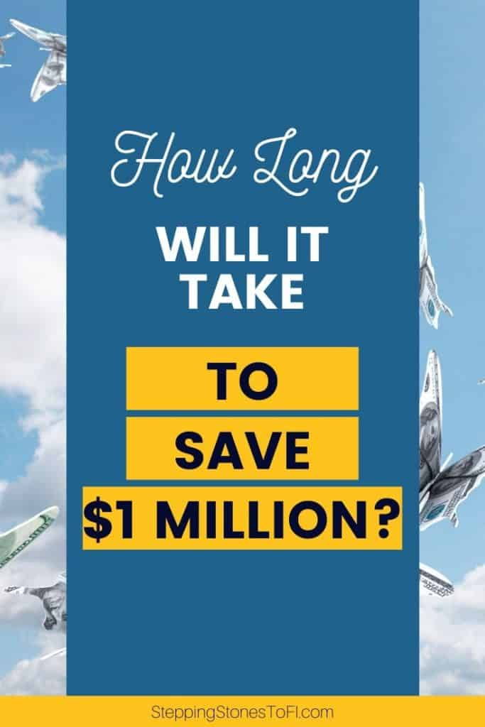 """Long Pinterest pin of butterflies in the sky made of dollar bills and text """"How long will it take to save $1 million?"""""""